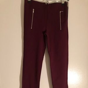 Merlot Zara Stretchy Work pants with zippers